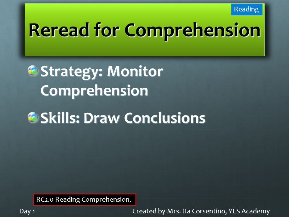 Reread for Comprehension Strategy: Monitor Comprehension Skills: Draw Conclusions Created by Mrs.