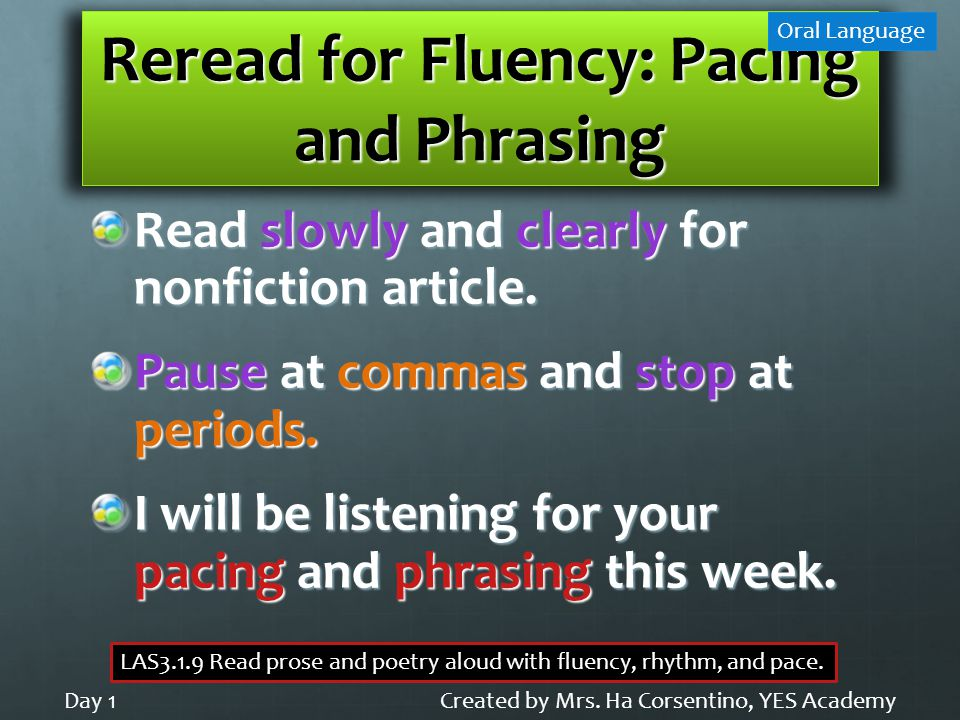 Reread for Fluency: Pacing and Phrasing Read slowly and clearly for nonfiction article. Pause at commas and stop at periods. I will be listening for y