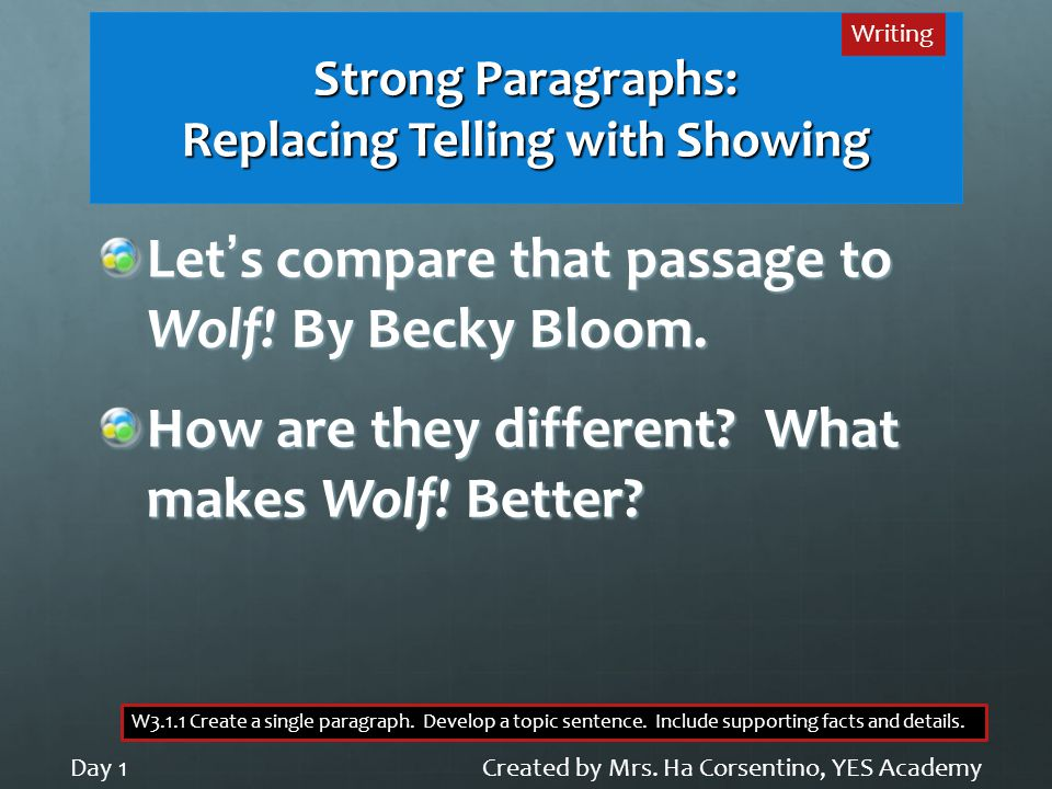 Strong Paragraphs: Replacing Telling with Showing Let's compare that passage to Wolf.