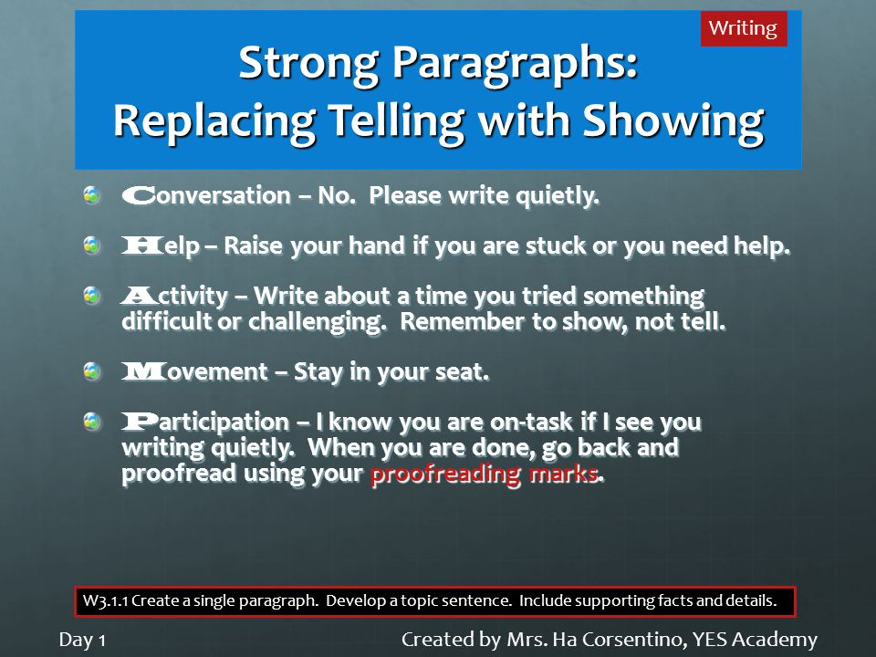 Strong Paragraphs: Replacing Telling with Showing C onversation – No. Please write quietly. H elp – Raise your hand if you are stuck or you need help.