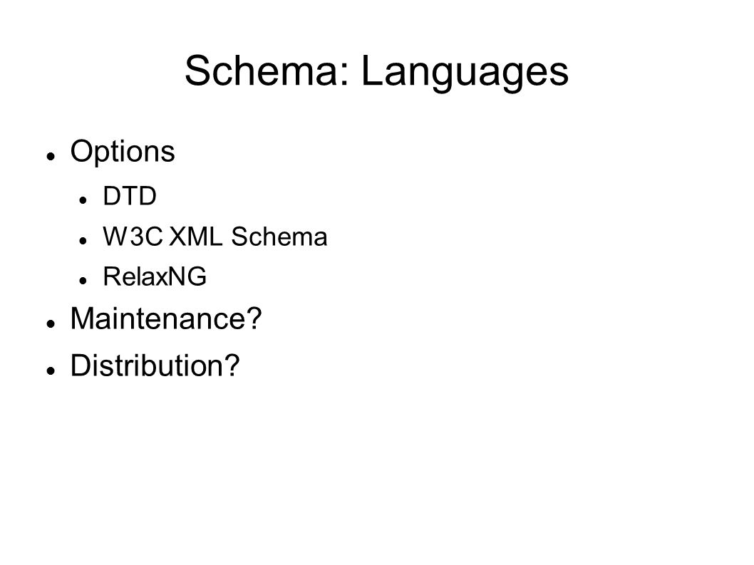 Schema: Languages Options DTD W3C XML Schema RelaxNG Maintenance Distribution