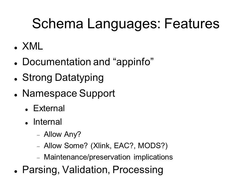 Schema Languages: Features XML Documentation and appinfo Strong Datatyping Namespace Support External Internal  Allow Any.