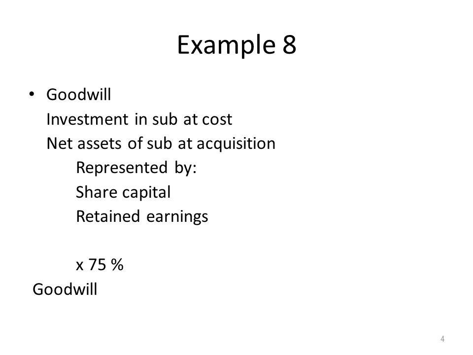 Example 8 Goodwill Investment in sub at cost Net assets of sub at acquisition Represented by: Share capital Retained earnings x 75 % Goodwill 4