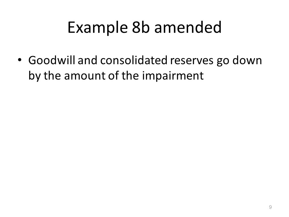 Example 8b amended Goodwill and consolidated reserves go down by the amount of the impairment 9