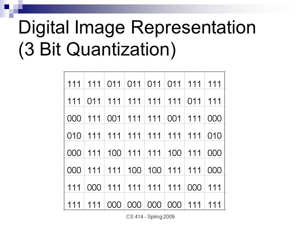 Digital Image Representation (3 Bit Quantization) CS 414 - Spring 2009