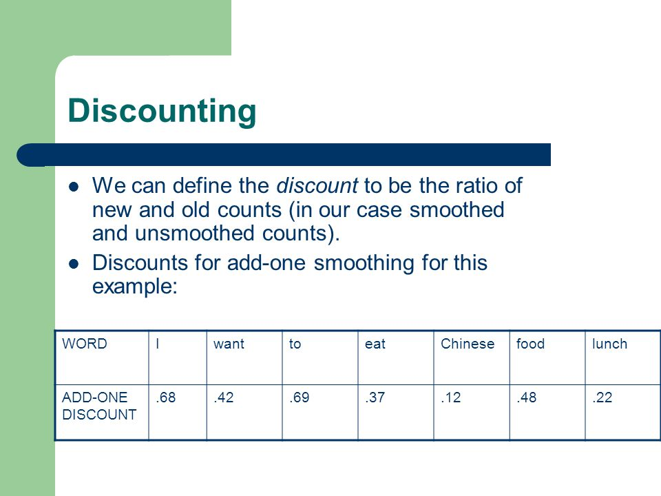 Discounting We can define the discount to be the ratio of new and old counts (in our case smoothed and unsmoothed counts).