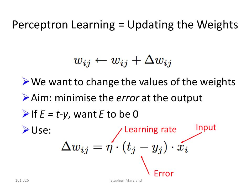 161.326Stephen Marsland Perceptron Learning = Updating the Weights  We want to change the values of the weights  Aim: minimise the error at the outp
