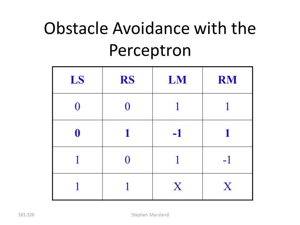 161.326Stephen Marsland Obstacle Avoidance with the Perceptron LSRSLMRM 0011 011 101 11XX