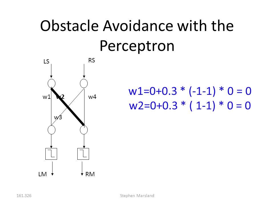 161.326Stephen Marsland Obstacle Avoidance with the Perceptron LS RS RM w1w2 w3 w4 w1=0+0.3 * (-1-1) * 0 = 0 w2=0+0.3 * ( 1-1) * 0 = 0 LM
