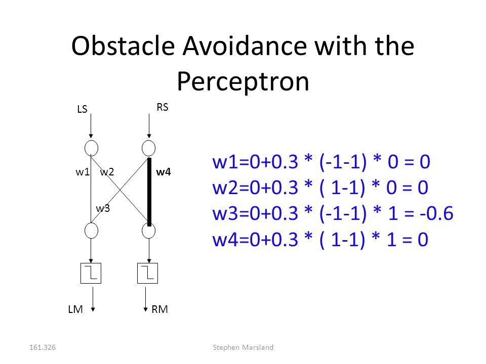 161.326Stephen Marsland Obstacle Avoidance with the Perceptron LS RS RM w1w2 w3 w4 w1=0+0.3 * (-1-1) * 0 = 0 w2=0+0.3 * ( 1-1) * 0 = 0 w3=0+0.3 * (-1-