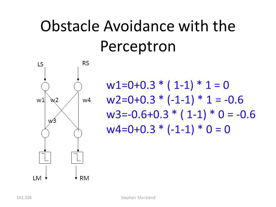 161.326Stephen Marsland Obstacle Avoidance with the Perceptron LS RS LMRM w1w2 w3 w4 w1=0+0.3 * ( 1-1) * 1 = 0 w2=0+0.3 * (-1-1) * 1 = -0.6 w3=-0.6+0.