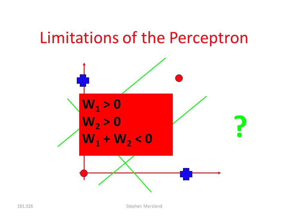 161.326Stephen Marsland Limitations of the Perceptron ? W 1 > 0 W 2 > 0 W 1 + W 2 < 0