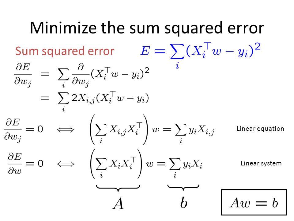 Minimize the sum squared error Sum squared error Linear equation Linear system