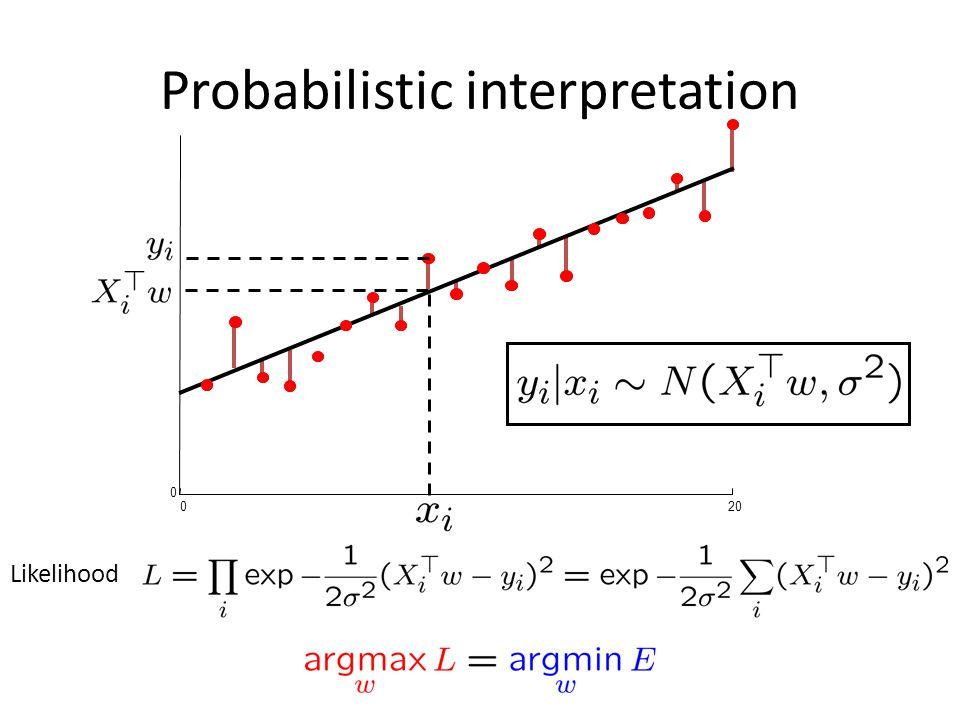 Probabilistic interpretation 020 0 Likelihood