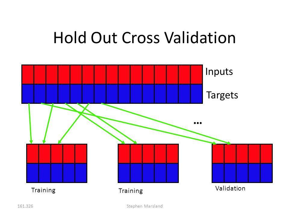 161.326Stephen Marsland Hold Out Cross Validation Inputs Targets … Training Validation