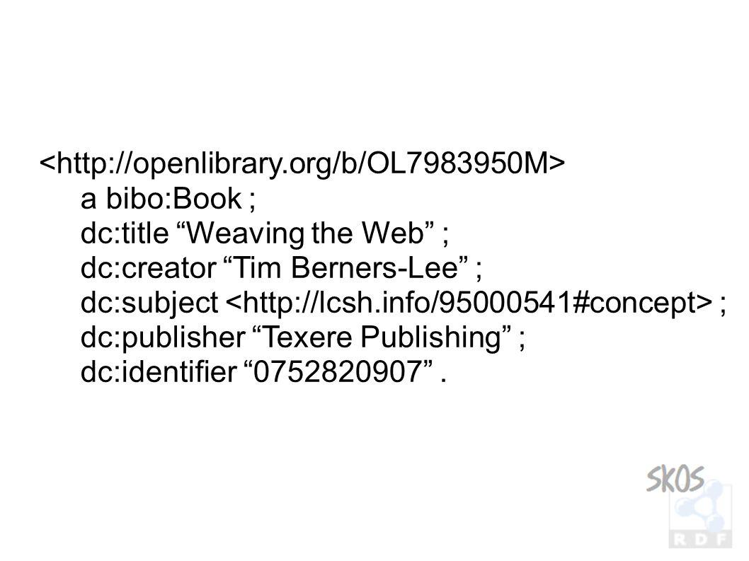 a bibo:Book ; dc:title Weaving the Web ; dc:creator Tim Berners-Lee ; dc:subject ; dc:publisher Texere Publishing ; dc:identifier 0752820907 .