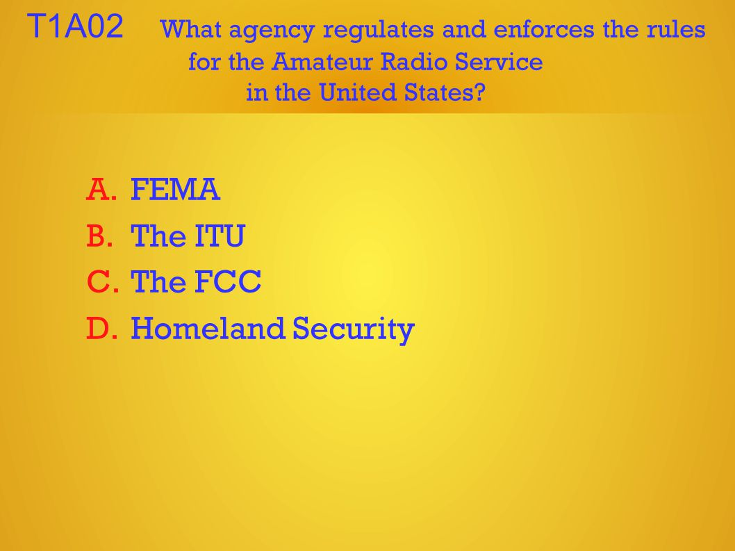 T1A02 What agency regulates and enforces the rules for the Amateur Radio Service in the United States.