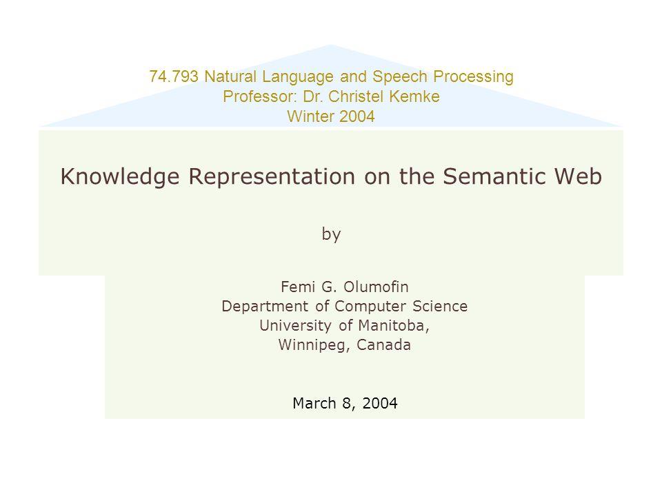 Friday, April 17, 20152 Outline Introduction The Semantic Web Layers Resource Description Framework (RDF) Ontology OWL Web Ontology Language Semantic Web Current Activity Conclusion