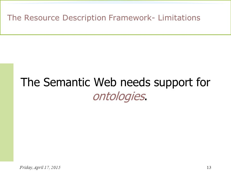 Friday, April 17, 201513 The Resource Description Framework- Limitations The Semantic Web needs support for ontologies.