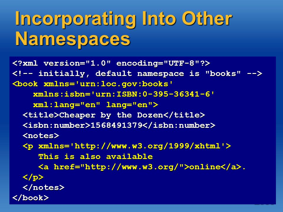 Incorporating Into Other Namespaces <book xmlns= urn:loc.gov:books xmlns:isbn= urn:ISBN:0-395-36341-6 xmlns:isbn= urn:ISBN:0-395-36341-6 xml:lang= en lang= en > xml:lang= en lang= en > Cheaper by the Dozen Cheaper by the Dozen 1568491379 1568491379 This is also available This is also available online.