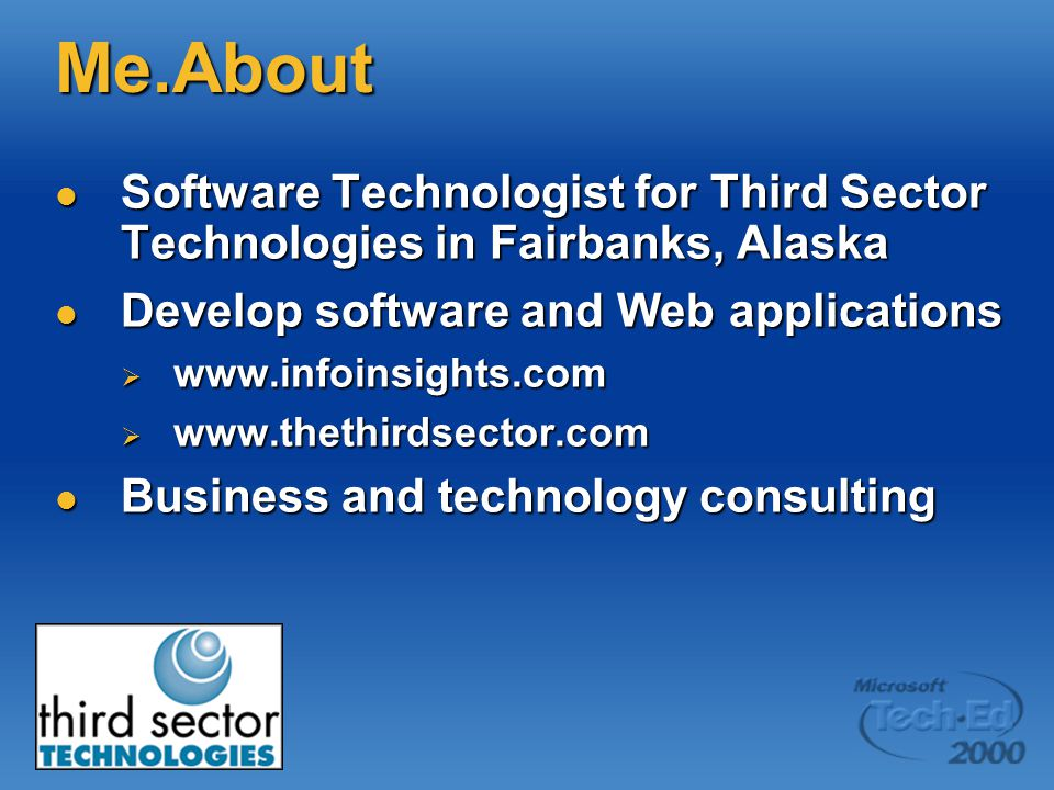 My Other Jobs Author Author  Several books, including VB Programmer's Guide to the Windows Registry  Regular contributor to several publications, including Informant's Microsoft Office & VBA Developer, VBPJ, and Information Week Training Training  VB, VBA, VI, and SQL Server instructor for Application Developers Training Company
