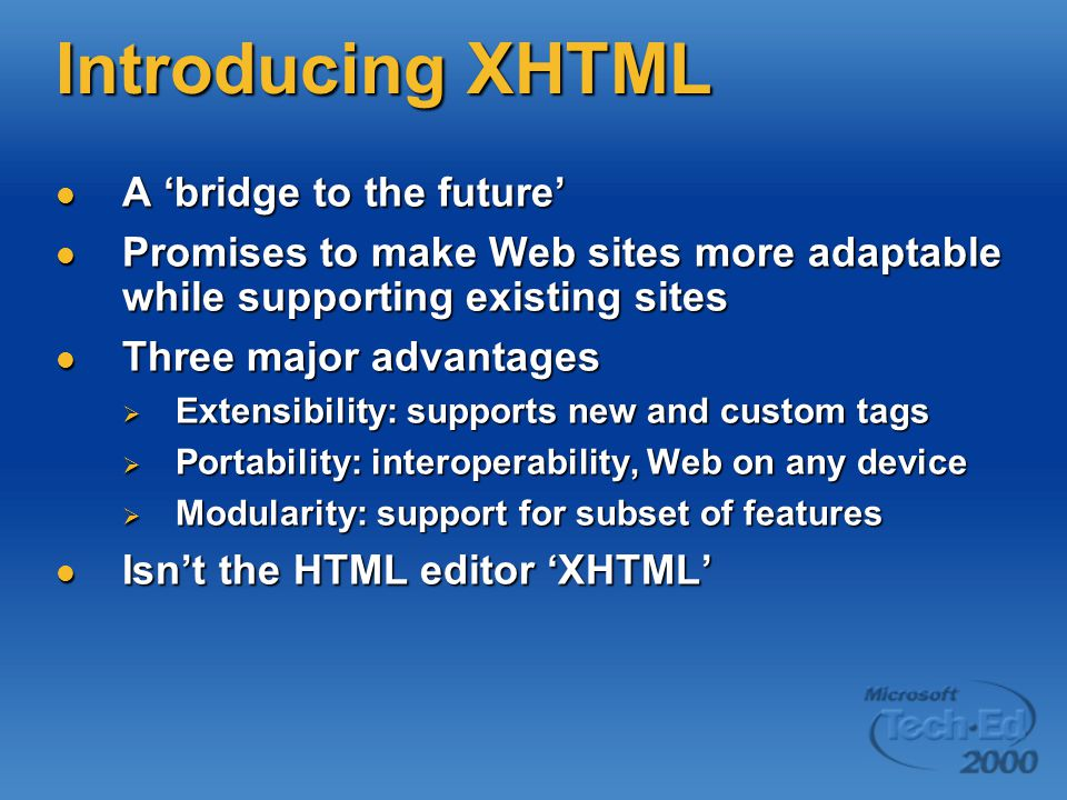 XHTML DTDs Specifies three XML document types: correspond to three HTML 4.01 DTDs Specifies three XML document types: correspond to three HTML 4.01 DTDs  Strict: Formatting in Cascading Style Sheets <!DOCTYPE html PUBLIC -//W3C//DTD XHTML 1.0 Strict//EN PUBLIC -//W3C//DTD XHTML 1.0 Strict//EN DTD/xhtml1-strict.dtd > DTD/xhtml1-strict.dtd >  Transitional: presentational markup, so don t limit to browsers that support CSS <!DOCTYPE html PUBLIC -//W3C//DTD XHTML 1.0 Transitional//EN PUBLIC -//W3C//DTD XHTML 1.0 Transitional//EN DTD/xhtml1-transitional.dtd > DTD/xhtml1-transitional.dtd >  Frameset: documents with frames <!DOCTYPE html PUBLIC -//W3C//DTD XHTML 1.0 Frameset//EN PUBLIC -//W3C//DTD XHTML 1.0 Frameset//EN DTD/xhtml1-frameset.dtd > DTD/xhtml1-frameset.dtd >