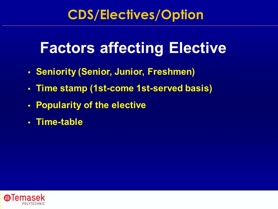  Seniority (Senior, Junior, Freshmen)  Time stamp (1st-come 1st-served basis)  Popularity of the elective  Time-table Factors affecting Elective C
