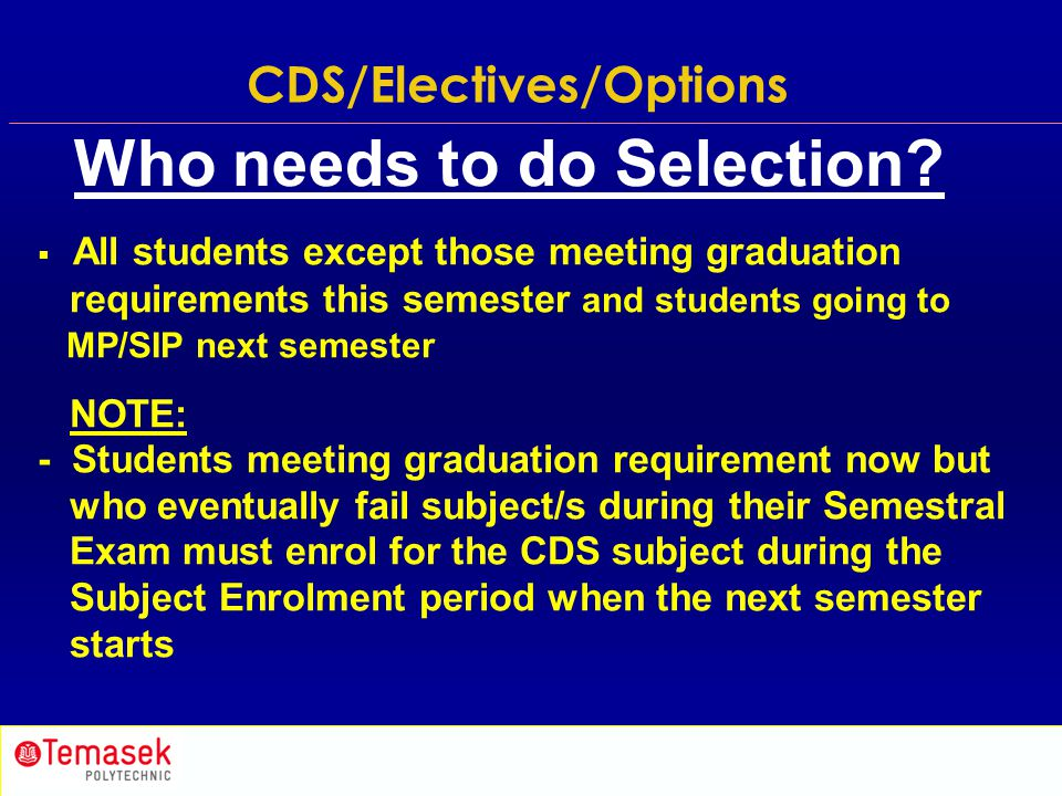 CDS/Electives/Options Who needs to do Selection?  All students except those meeting graduation requirements this semester and students going to MP/SI