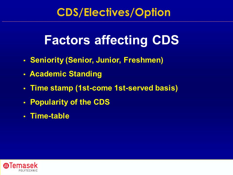  Seniority (Senior, Junior, Freshmen)  Academic Standing  Time stamp (1st-come 1st-served basis)  Popularity of the CDS  Time-table Factors affec