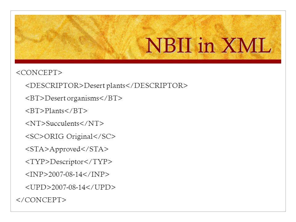 NBII in XML Desert plants Desert organisms Plants Succulents ORIG Original Approved Descriptor 2007-08-14