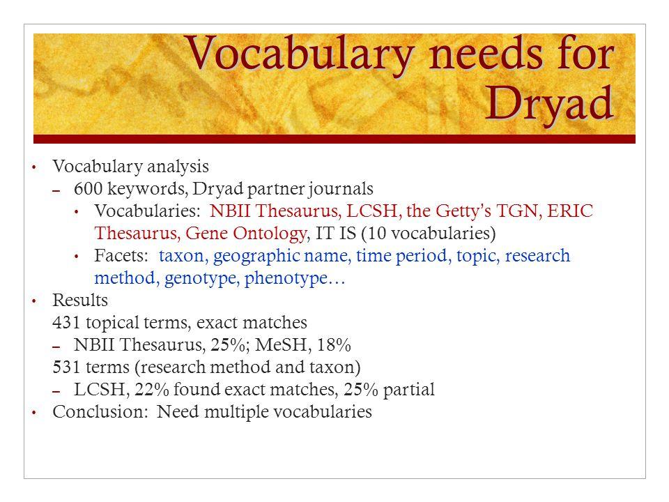 Vocabulary needs for Dryad Vocabulary analysis – 600 keywords, Dryad partner journals Vocabularies: NBII Thesaurus, LCSH, the Getty's TGN, ERIC Thesau