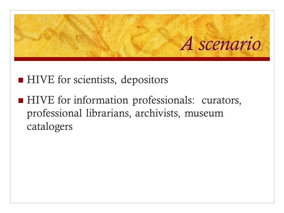 A scenario HIVE for scientists, depositors HIVE for information professionals: curators, professional librarians, archivists, museum catalogers