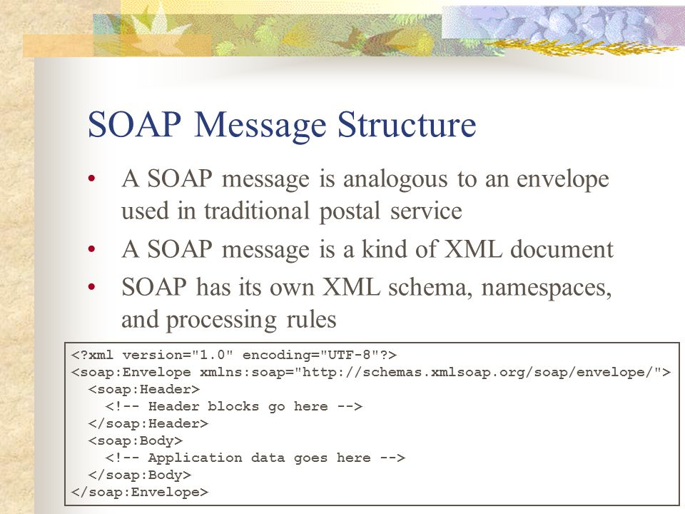 SOAP Message Structure A SOAP message is analogous to an envelope used in traditional postal service A SOAP message is a kind of XML document SOAP has its own XML schema, namespaces, and processing rules