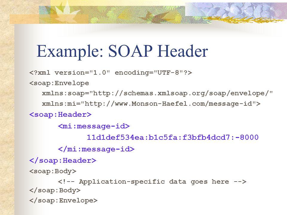 Example: SOAP Header <soap:Envelope xmlns:soap= http://schemas.xmlsoap.org/soap/envelope/ xmlns:mi= http://www.Monson-Haefel.com/message-id > 11d1def534ea:b1c5fa:f3bfb4dcd7:-8000