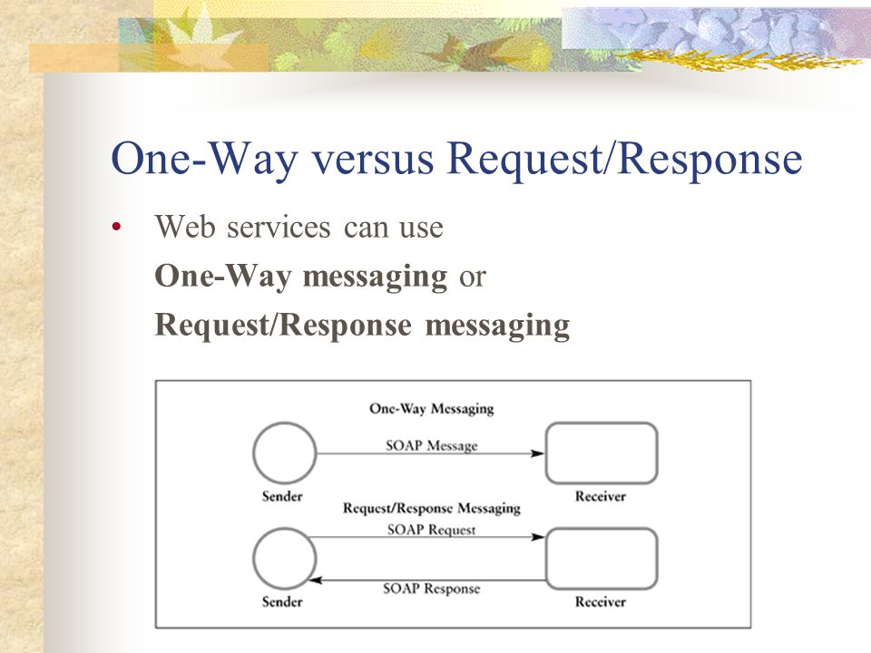 One-Way versus Request/Response Web services can use One-Way messaging or Request/Response messaging