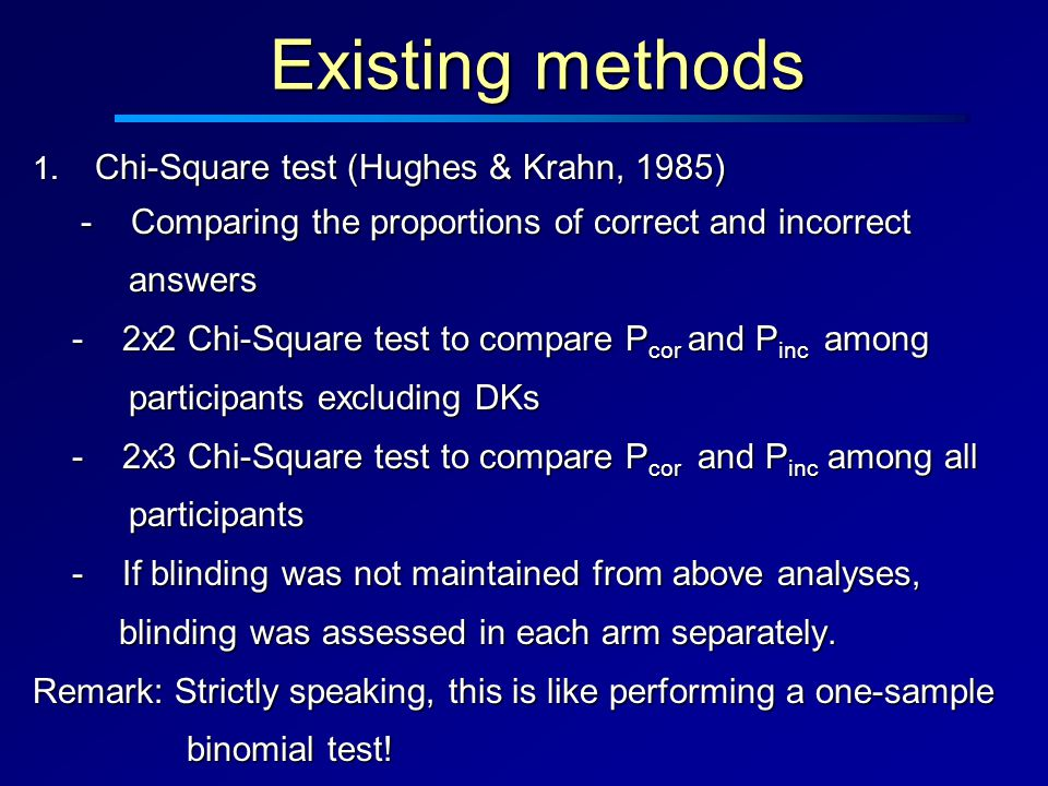 1. Chi-Square test (Hughes & Krahn, 1985) - Comparing the proportions of correct and incorrect - Comparing the proportions of correct and incorrect an