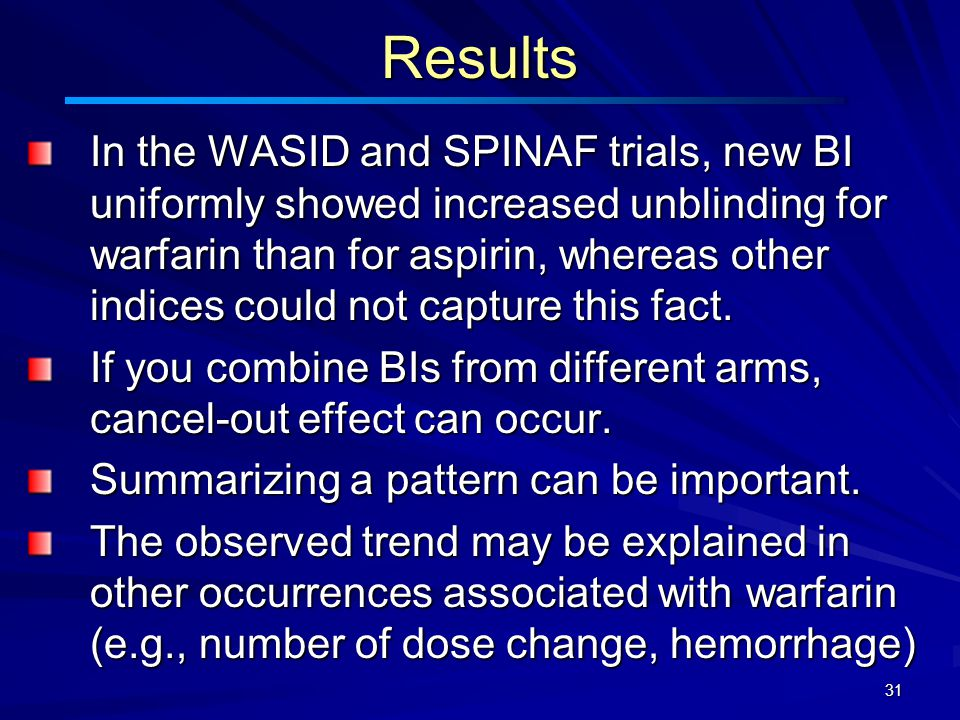 31Results In the WASID and SPINAF trials, new BI uniformly showed increased unblinding for warfarin than for aspirin, whereas other indices could not capture this fact.