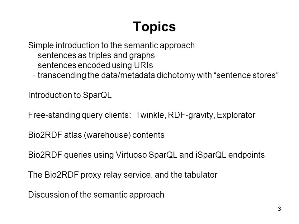 34 Using SparQL endpoints to get RDF documents Here's what the previous CONSTRUCT query will return (edited for readability).
