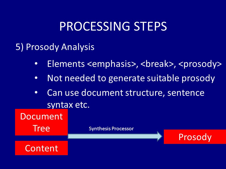 PROCESSING STEPS Elements,, Not needed to generate suitable prosody Can use document structure, sentence syntax etc.