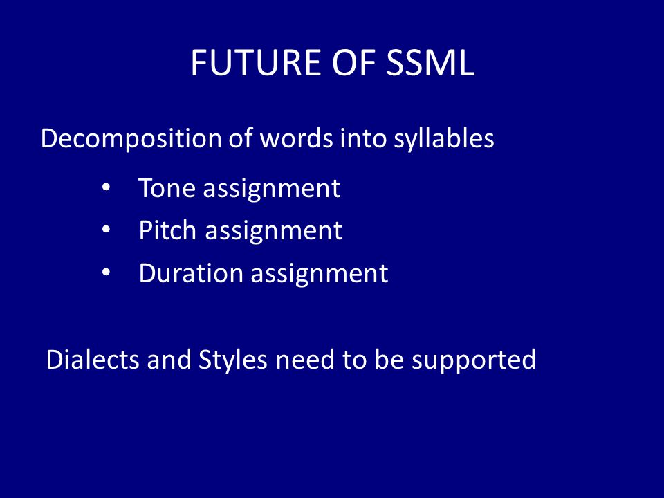 FUTURE OF SSML Decomposition of words into syllables Tone assignment Pitch assignment Duration assignment Dialects and Styles need to be supported