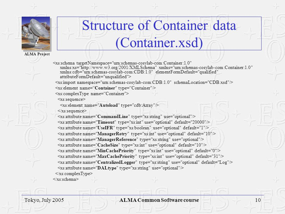 ALMA Project 10Tokyo, July 2005ALMA Common Software course Structure of Container data (Container.xsd)