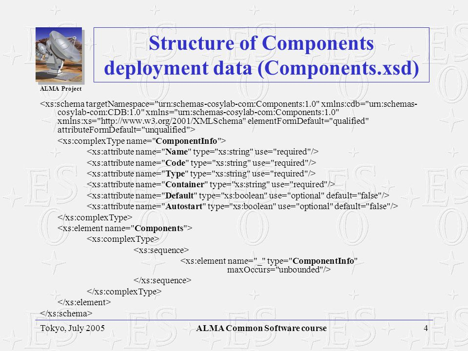 ALMA Project 4Tokyo, July 2005ALMA Common Software course Structure of Components deployment data (Components.xsd)