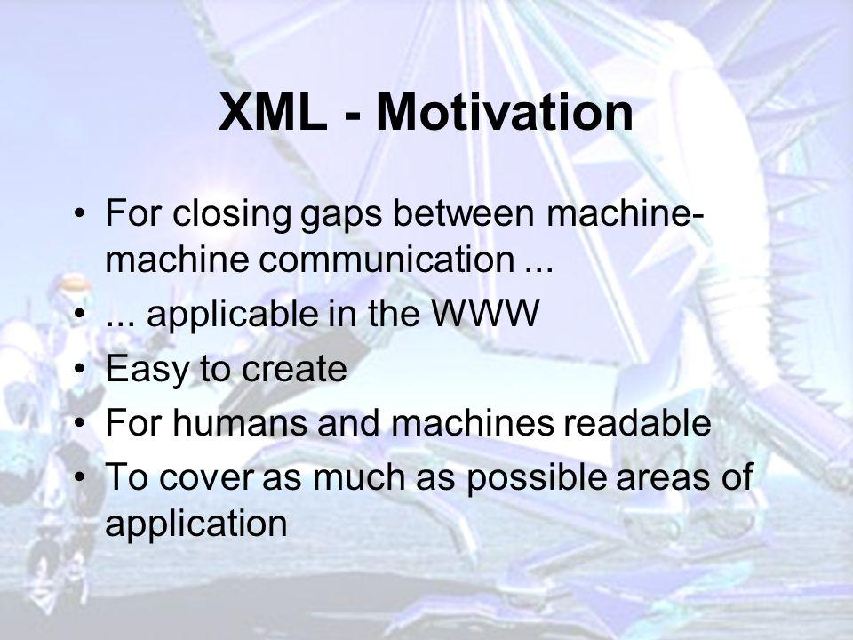 XML - Motivation For closing gaps between machine- machine communication......