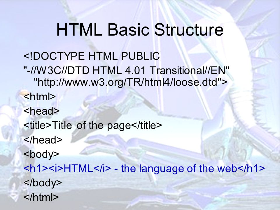 HTML Basic Structure <!DOCTYPE HTML PUBLIC -//W3C//DTD HTML 4.01 Transitional//EN http://www.w3.org/TR/html4/loose.dtd > Title of the page HTML - the language of the web