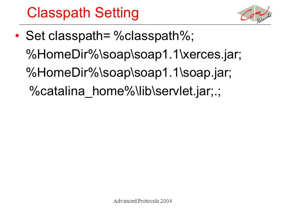 Advanced Protocols 2004 Classpath Setting Set classpath= %classpath%; %HomeDir%\soap\soap1.1\xerces.jar; %HomeDir%\soap\soap1.1\soap.jar; %catalina_home%\lib\servlet.jar;.;