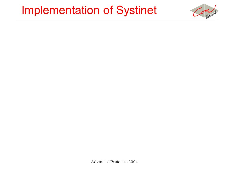 Advanced Protocols 2004 Implementation of Systinet