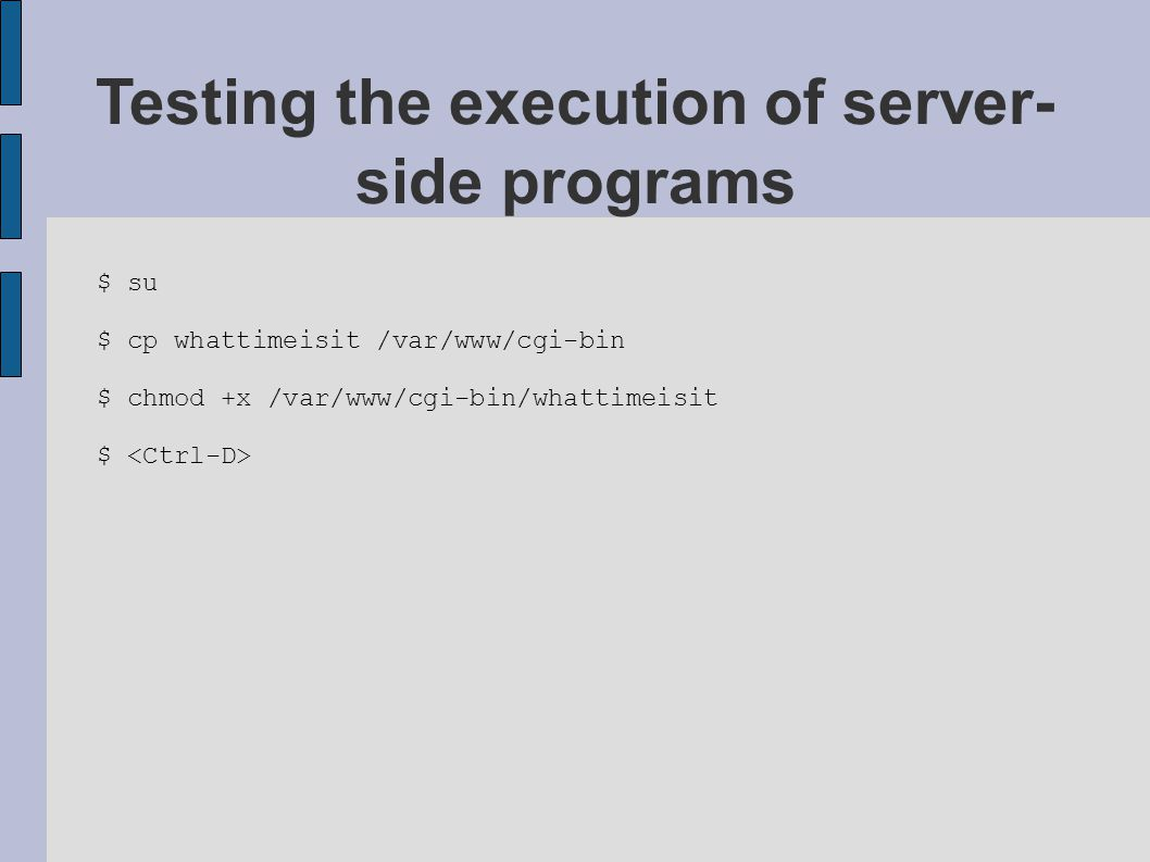 $ su $ cp whattimeisit /var/www/cgi-bin $ chmod +x /var/www/cgi-bin/whattimeisit $ Testing the execution of server- side programs