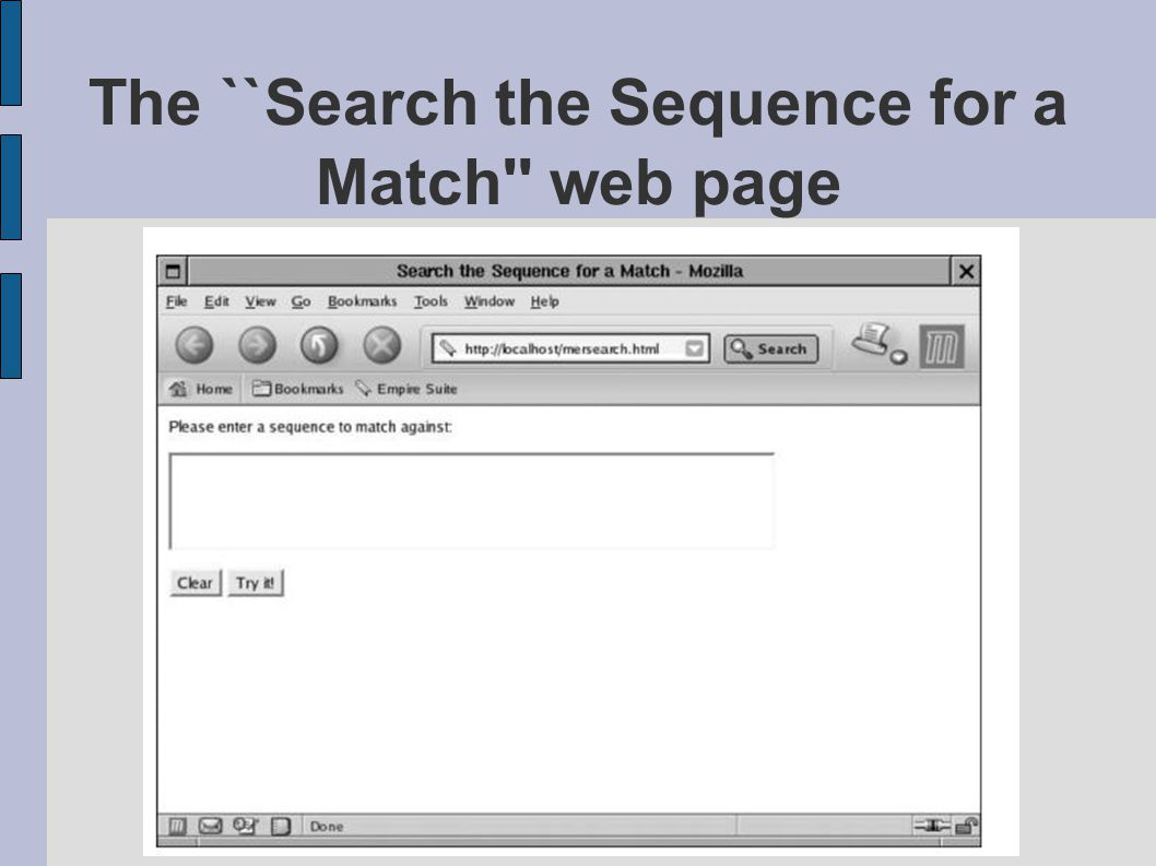 The ``Search the Sequence for a Match web page figMERSEARCH.eps