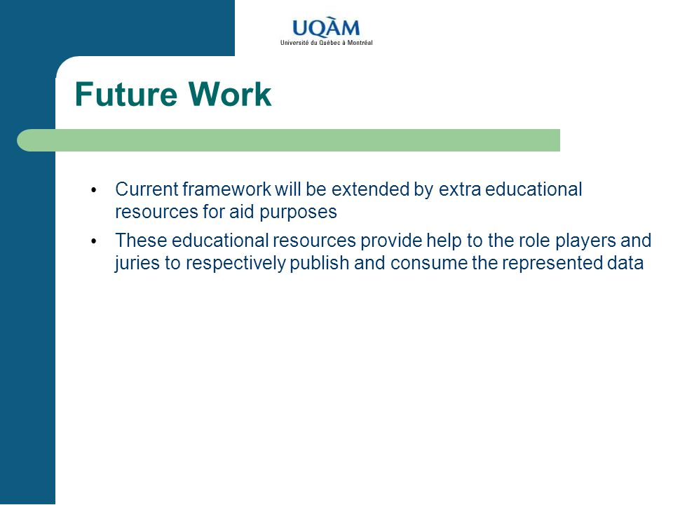 Future Work Current framework will be extended by extra educational resources for aid purposes These educational resources provide help to the role players and juries to respectively publish and consume the represented data