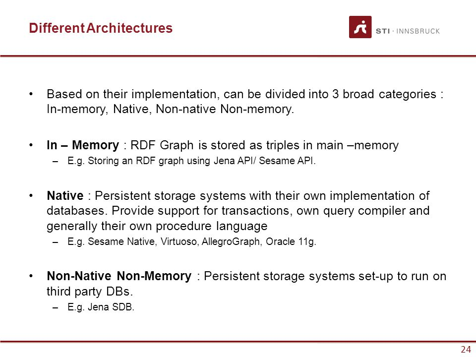 24 Different Architectures Based on their implementation, can be divided into 3 broad categories : In-memory, Native, Non-native Non-memory.